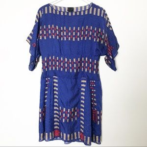 Anna Sui Royal Blue Patterned Silk Dress